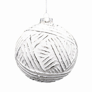 Set of 6 White Baubles - Style 3