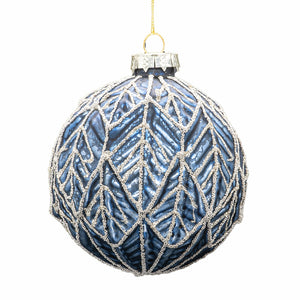 Set of 6 Leaf Baubles - Blue