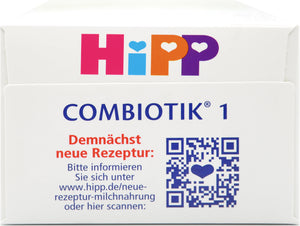 HiPP German Stage 1 Combiotic Infant Milk Formula, 600g  | 12 Units