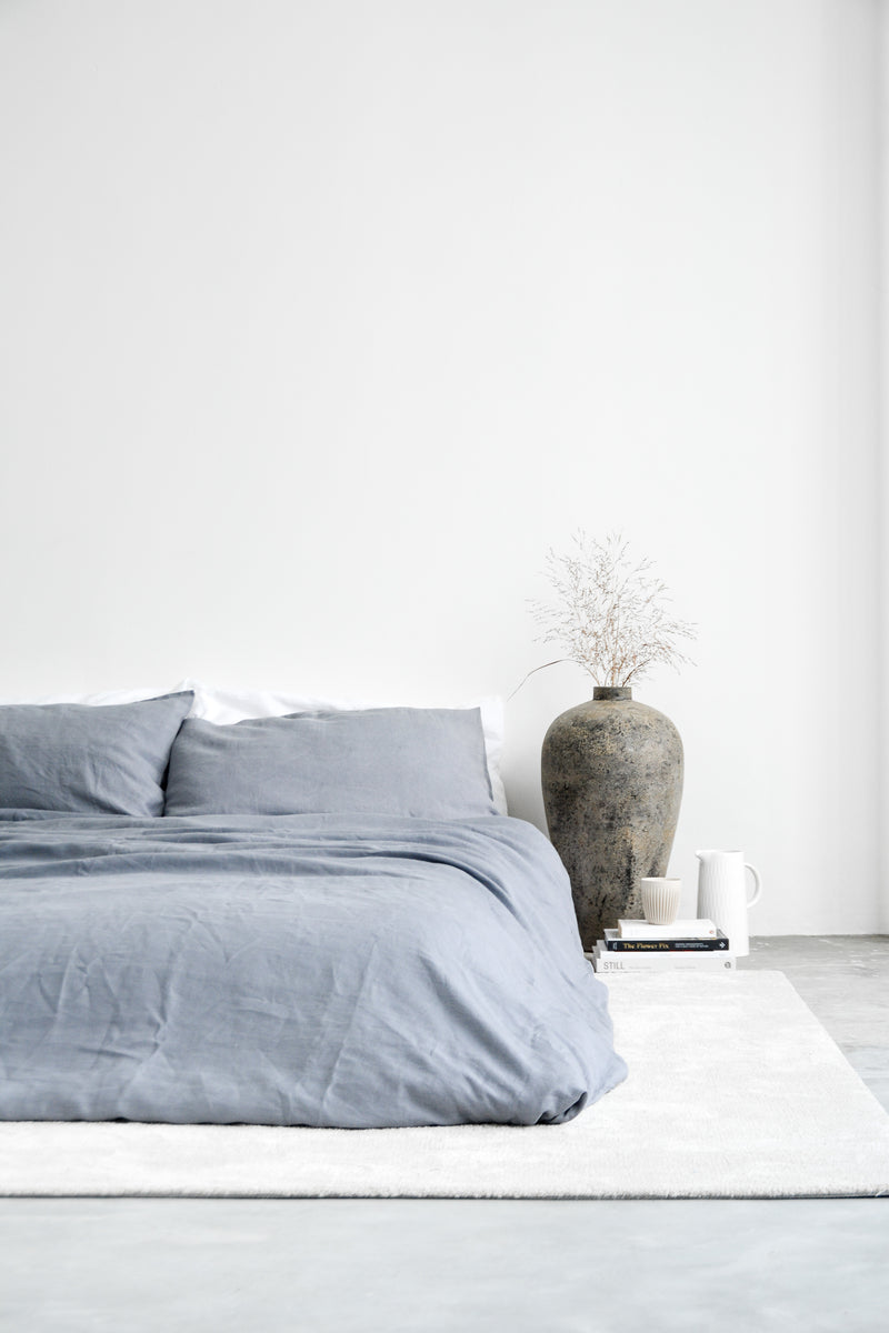 Linen Duvet Cover Set Slate Blue Annette Singapore