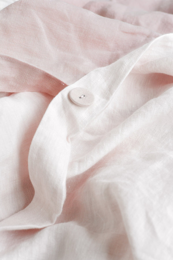 Linen Duvet Cover Set | Dusty Rose x Soft Blush