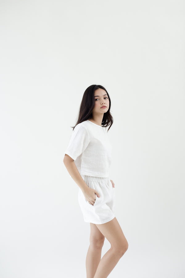 Linen Sleeved Top | White