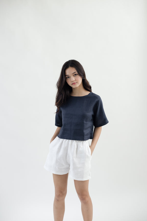 Linen Sleeved Top | Navy