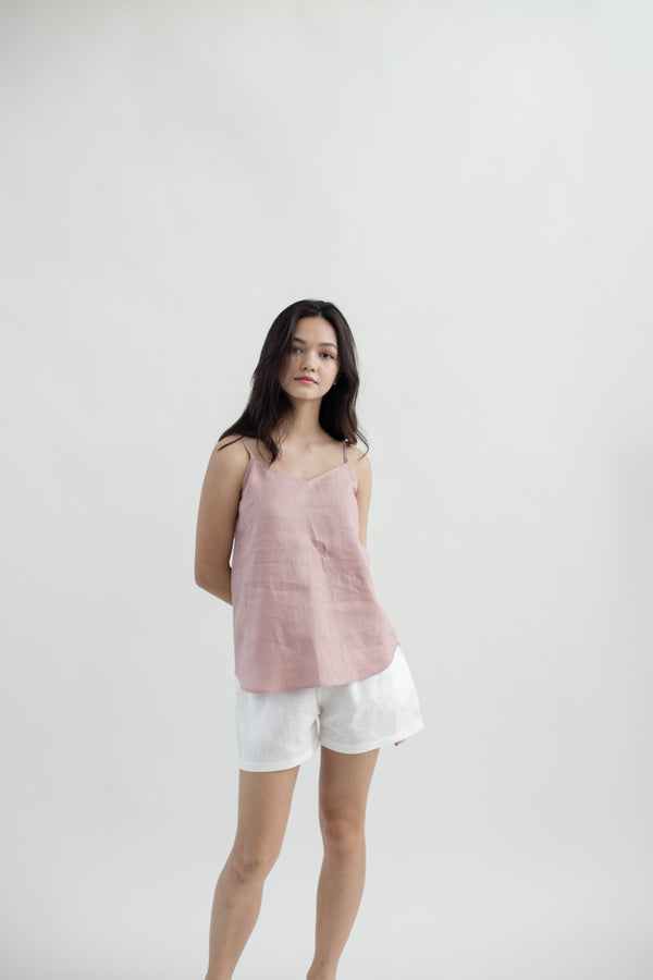 Linen Gathered Shorts | White