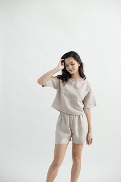 Linen Sleeved Top | Natural