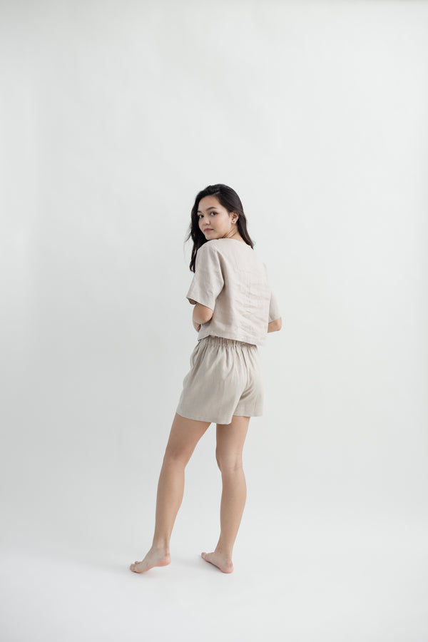 Linen Gathered Shorts | Natural