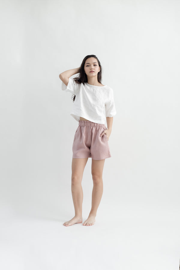 Linen Gathered Shorts | Dusty Pink