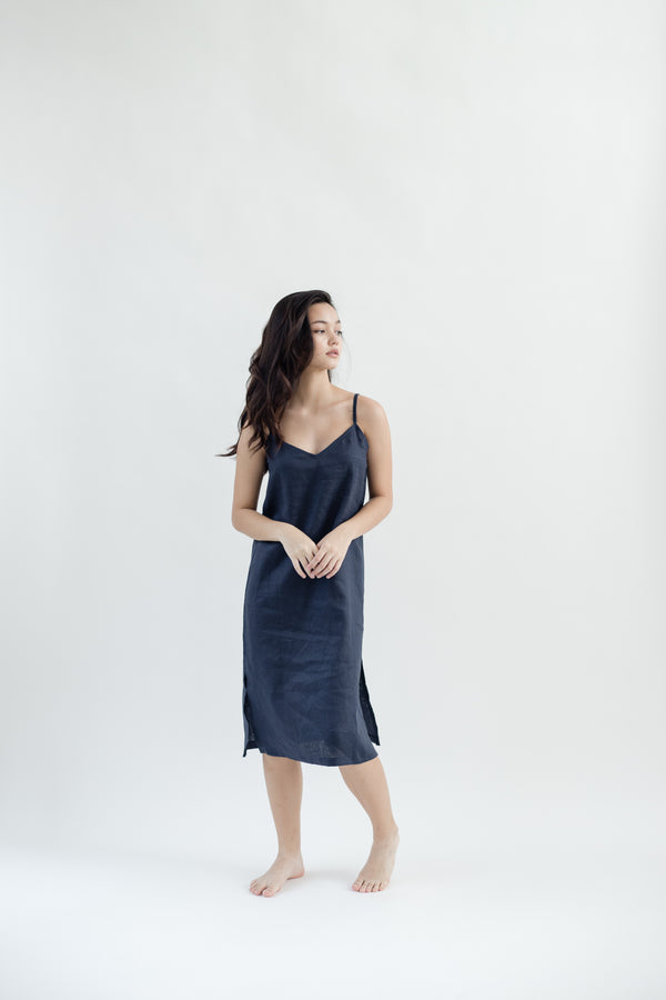 Linen Slip Dress | Navy