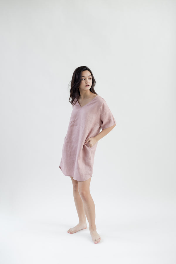 Linen Tunic Dress | Dusty Pink