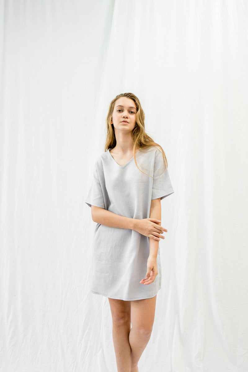 Linen Tunic Dress | Dove Grey