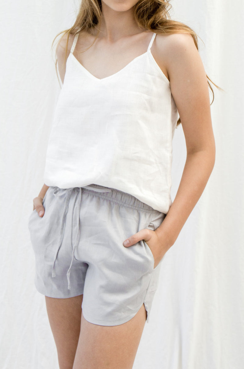 Linen Lounge Shorts | Dove Grey