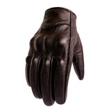 Fashionable brown leather motorcycle gloves (smartphone compatible)