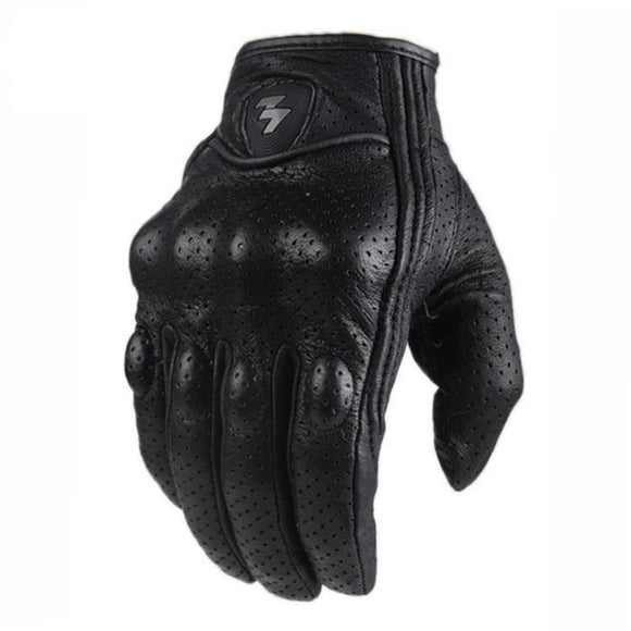 Soft black leather motorcycle gloves