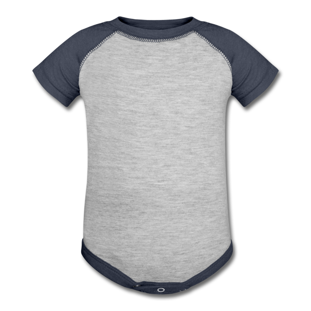 Personalized Baseball Baby Bodysuit - heather gray/navy