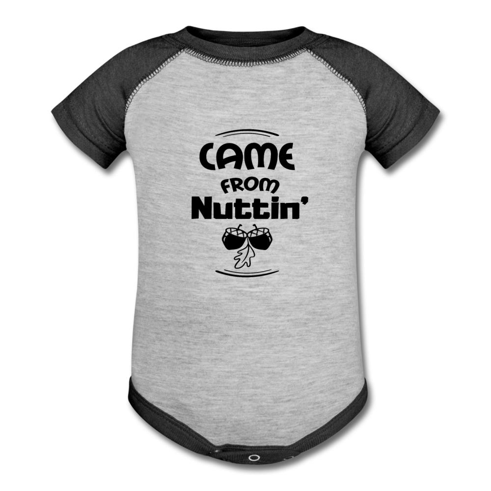 Came From Nuttin Baseball Onesie - heather gray/charcoal