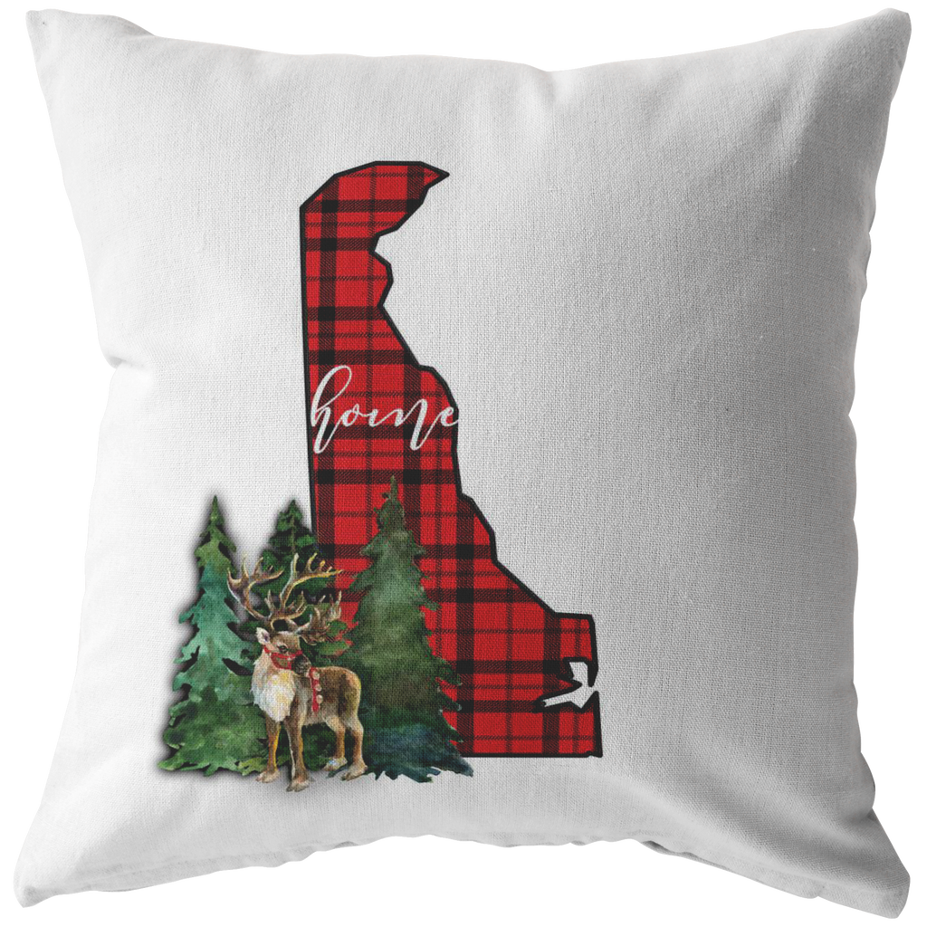 Delaware Christmas Reindeer Throw Pillow