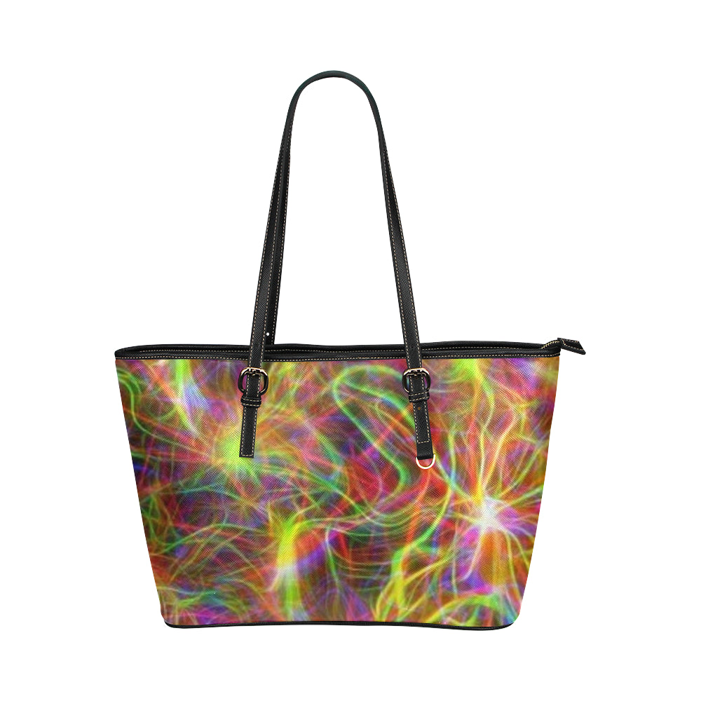 Electric Rainbow Leather Tote Bag (large)