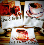 "Coffee | Trio Set of Kitchen Towels | 16""x 24"""