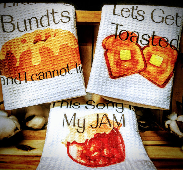 "Breakfast | Trio Set of Kitchen Towels | 16""x 24"""