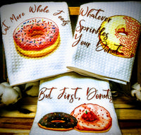 "Donuts | Trio Set of Kitchen Towels | 16""x 24"""