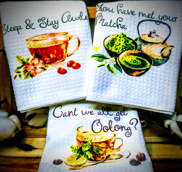"Tea | Trio Set of Kitchen Towels | 16""x 24"""