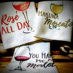 "Wine | Trio Set of Kitchen Towels | 16""x 24"""