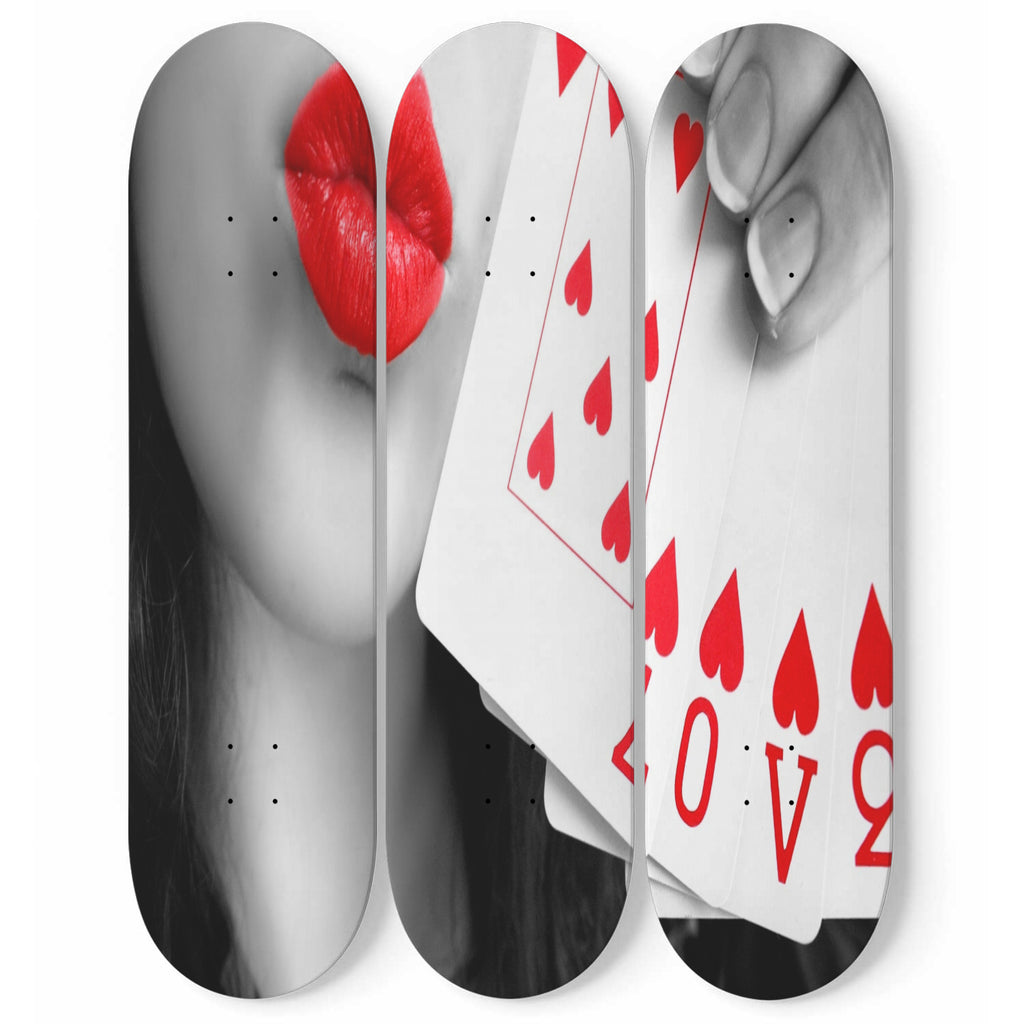 Love Playing Cards Skateboard 3 piece Decorative Wall Art