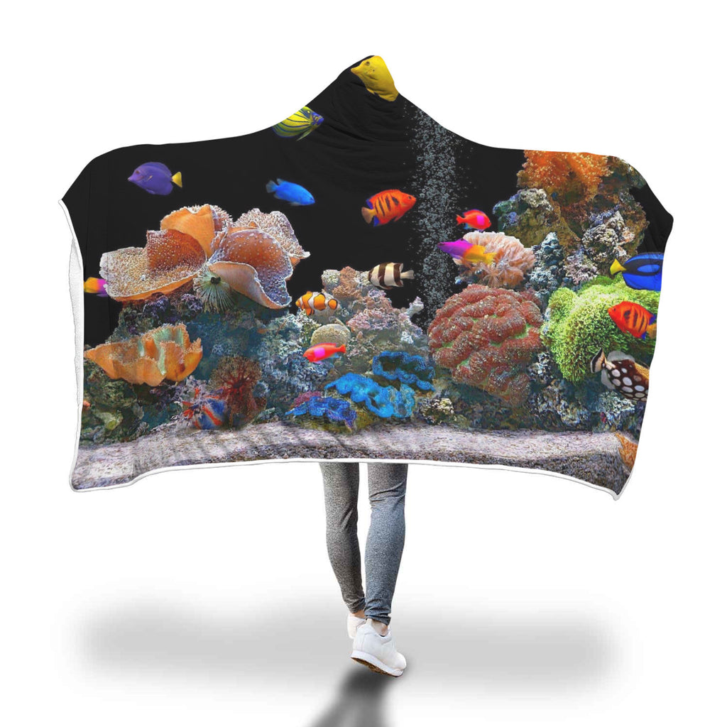 Salt Water Coral Hooded Blanket Super Soft