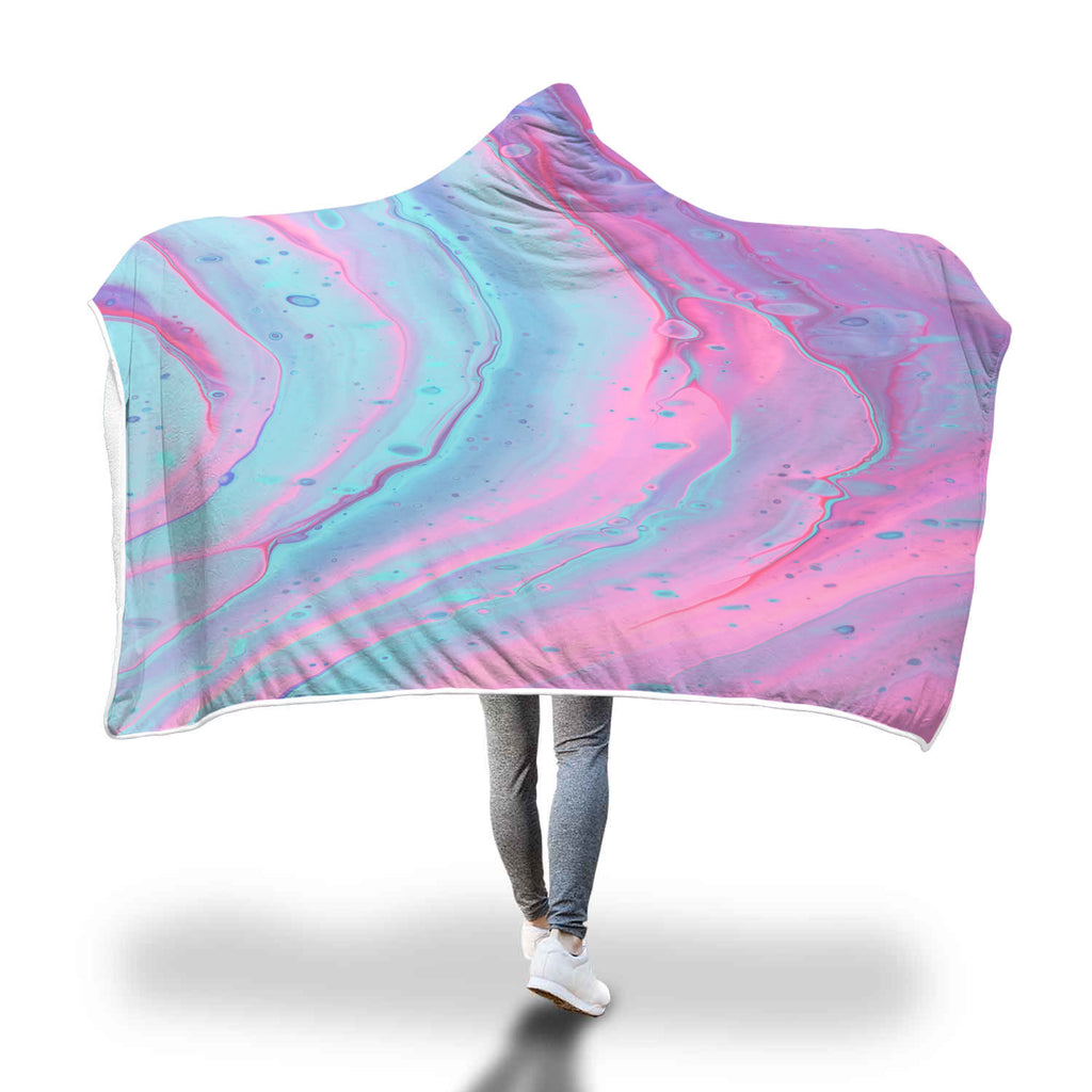 Abstract Pastel Pink Blue Hooded Blanket Soft Sherpa