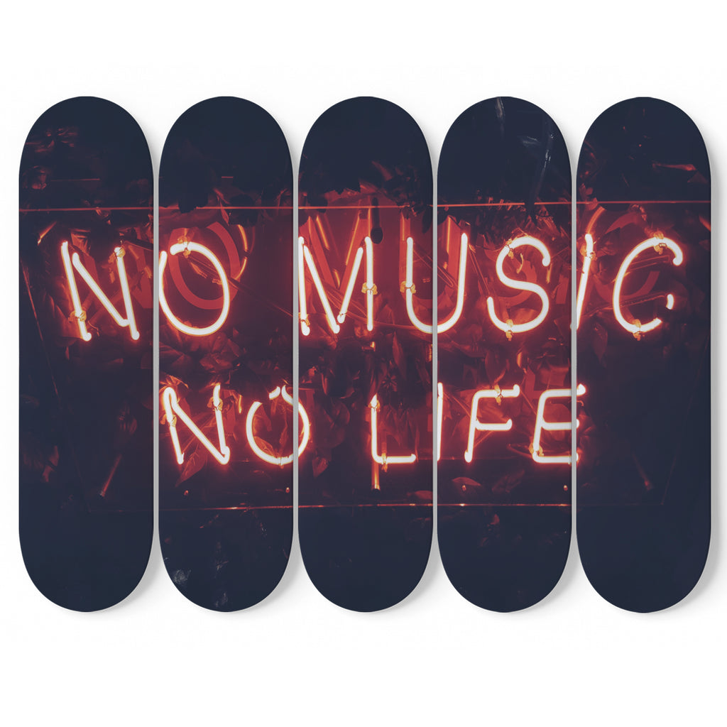 No Music No Life 5-Piece Skateboard Wall Art