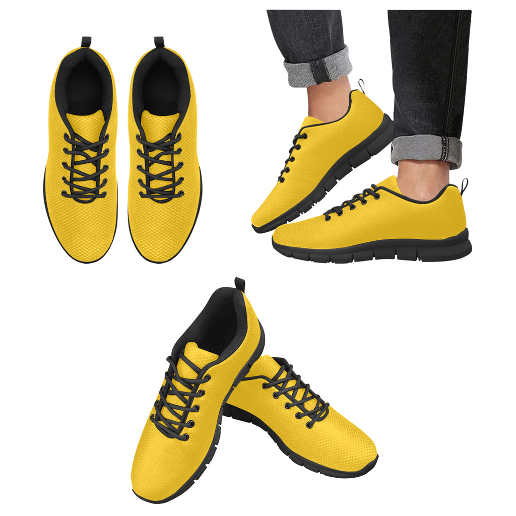 Men's Yellow Breathable Running Sneakers