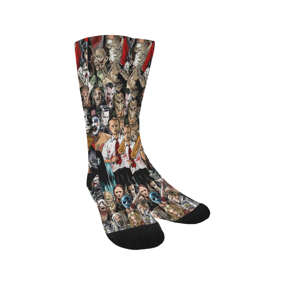 Horror Characters Crew Socks Adult