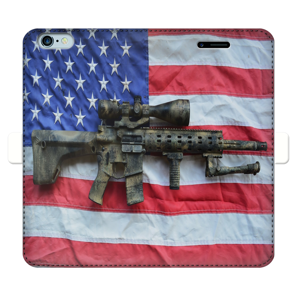 Military American Flag Fully Printed Wallet Cases