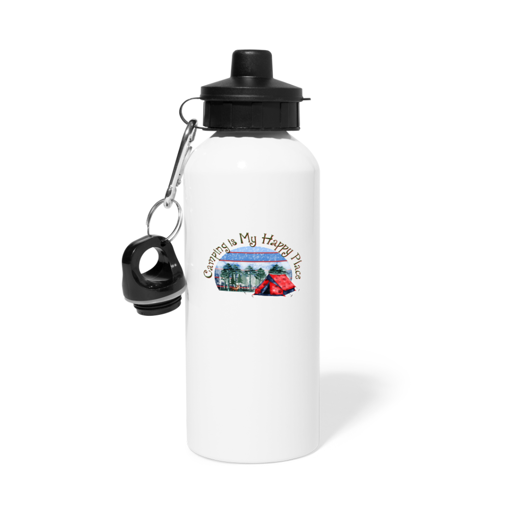 Camping is my Happy Place Water Bottle - white