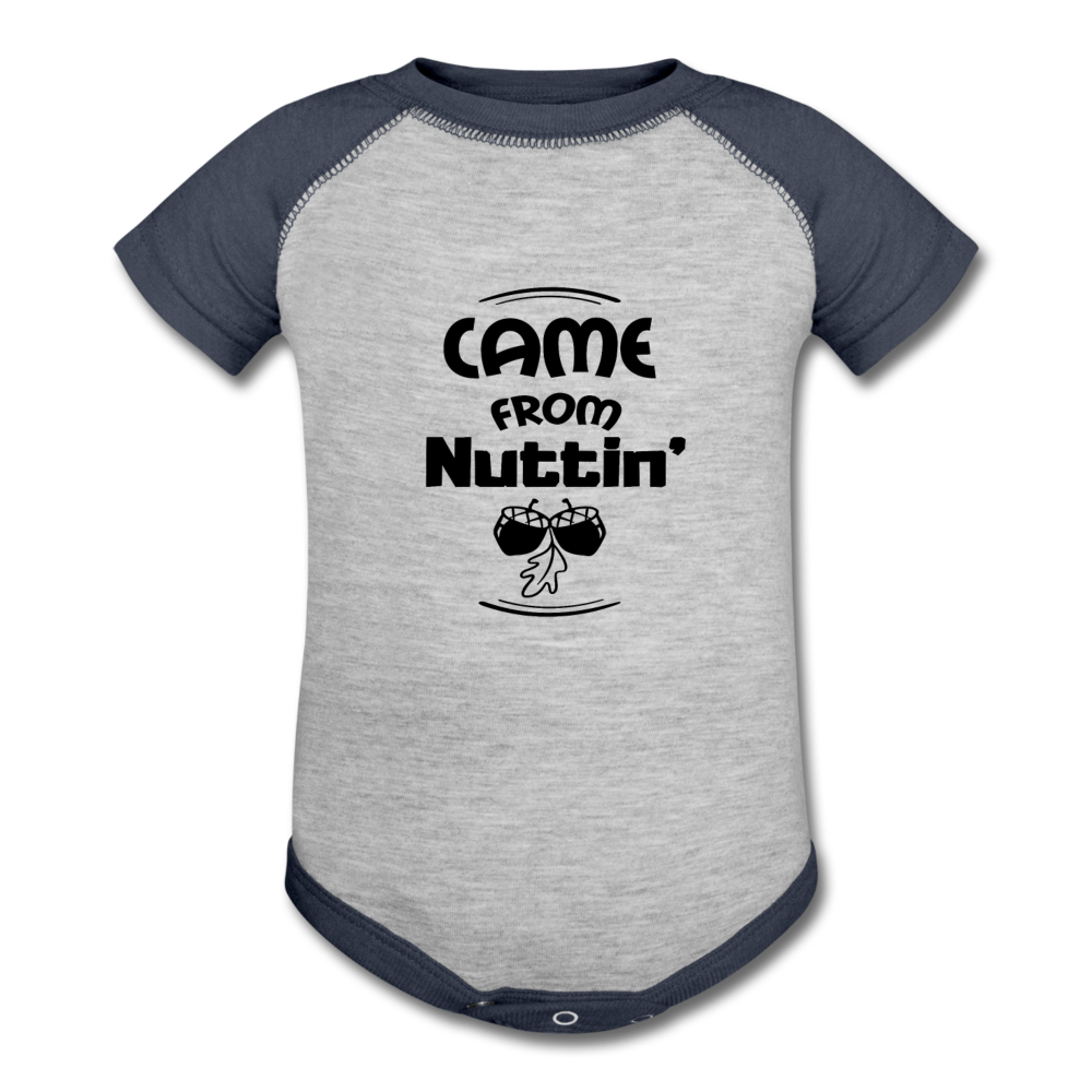 Came From Nuttin Baseball Onesie - heather gray/navy