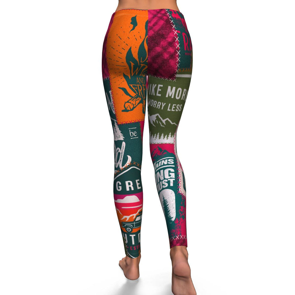 Camping Patchwork Womens Leggings