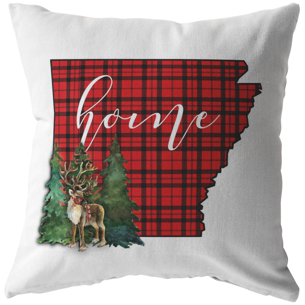 Arkansas Christmas Reindeer Throw Pillow