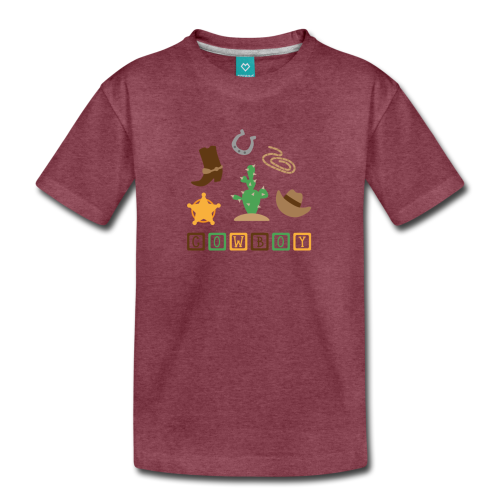 Boys Cowboy Tee - heather burgundy