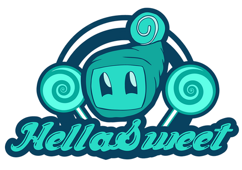 The logo of HellaSweet, an American candy and gelatine free shop.