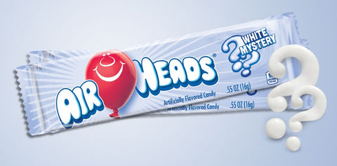 A picture of White Mystery Airheads with question marks.