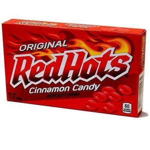 A box of Original Red Hots standing up.