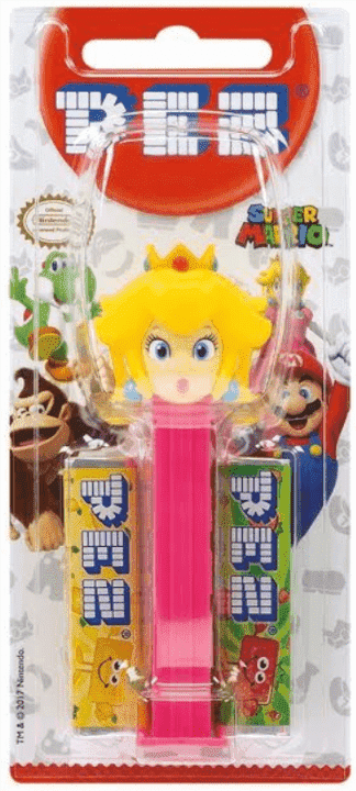 A Princess Peach PEZ Dispenser box with 2 PEZ candy refills.