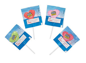 A picture of American candy, specifically Jolly Rancher heart lollipops.