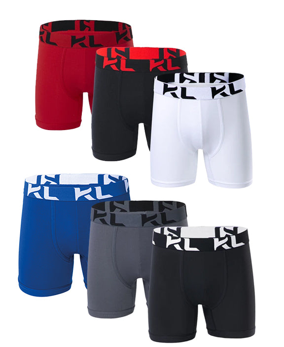 Men underwear ultra soft microfiber fabric - 6 Pack RED/BLACK/WHITE/DARK BLUE/GRAY