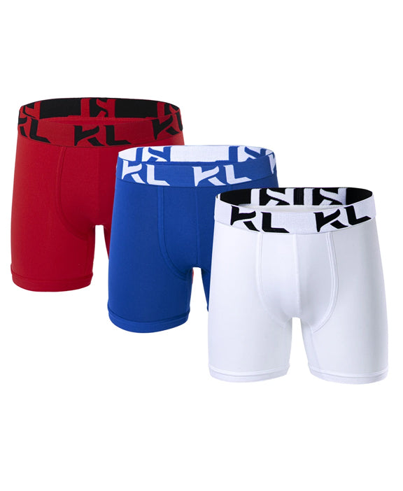 Men underwear ultra soft microfiber fabric - 3 Pack RED/DARK BLUE/WHITE