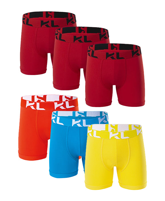 Men underwear ultra soft microfiber fabric - 6 Pack Red/Orange/Light Blue/Yellow