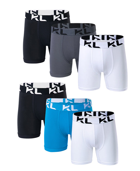 Men underwear ultra soft microfiber fabric - 6 Pack BLACK/LIGHT BLUE/WHITE/BLACK/GRAY/WHITE