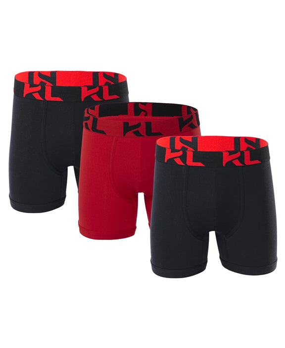 Men underwear ultra soft microfiber fabric - 3 Pack BLACK/RED
