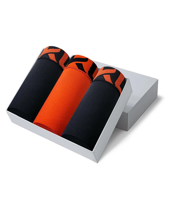 Men underwear ultra soft microfiber fabric - 3 Pack BLACK/ORANGE