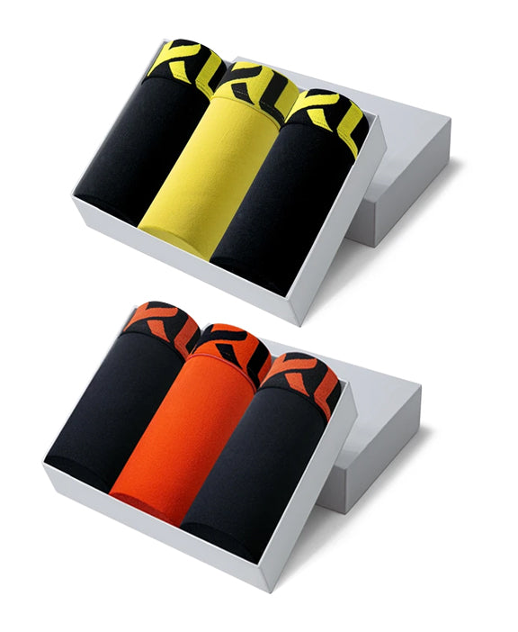 Men underwear ultra soft microfiber fabric - 6 Pack BLACK/ORANGE/YELLOW